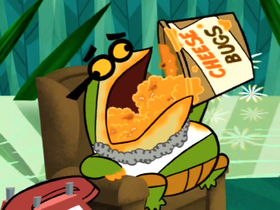 Pixiefrog Devoring Cheese Bugs.png